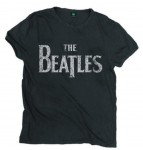 The Beatles Mens koszulka T-Shirt: Vintage Drop T Logo (Black)