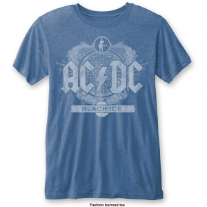 AC/DC Koszulka Black Ice Mens Burnout Mid Blue