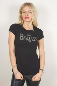 The Beatles - Drop T Rhinestones Black Ladies T-Shirt Koszulka Damska